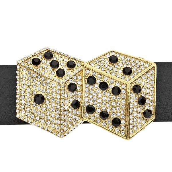Iced Out Bling Gürtel - DOUBLE DICE gold