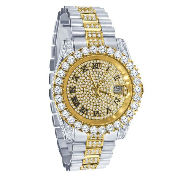 High Quality Iced Out CZ Stainless Steel Watch - silver gold