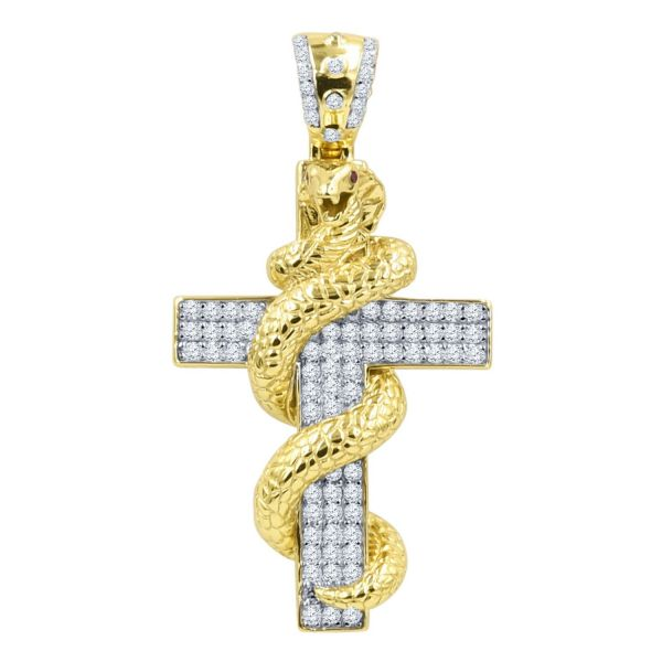 925 Sterling Silber Micro Pave Anhänger - SNAKE CROSS gold