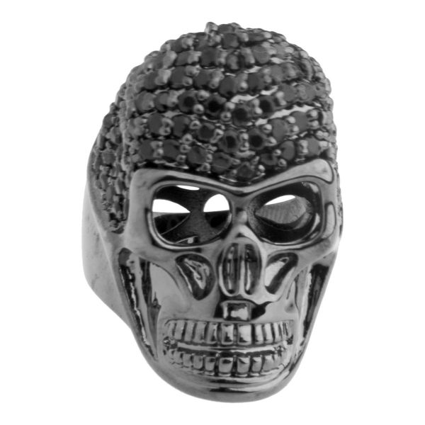 Iced Out Bling Micro Pave Ring - 3D SKULL schwarz