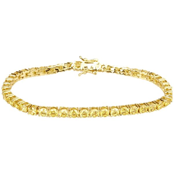 Iced Out Bling High Quality Armband - CANARY GOLD 1 ROW 4mm