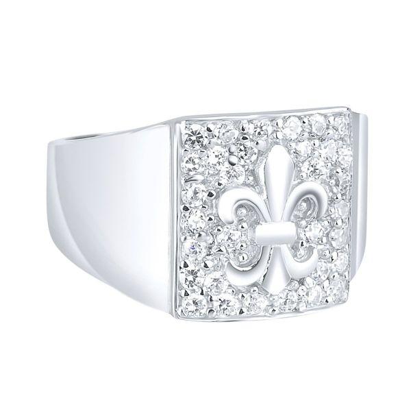 Sterling 925er Silber Pave Ring - Fleur De Lis
