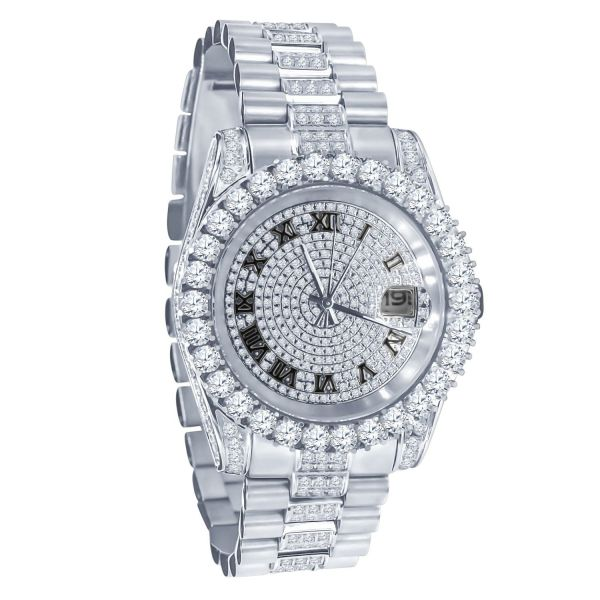 Mega Bling FULL ICED OUT CZ Stainless Steel Watch - silver