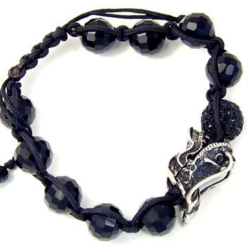 Unisex Bling Bracelet - DISCO BALL ONYX DRAGON silver