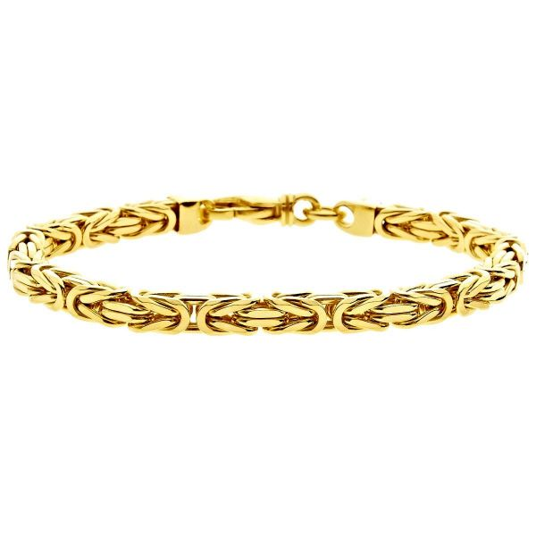 Iced Out Stainless Steel BYZANTINE Bracelet - 4mm gold