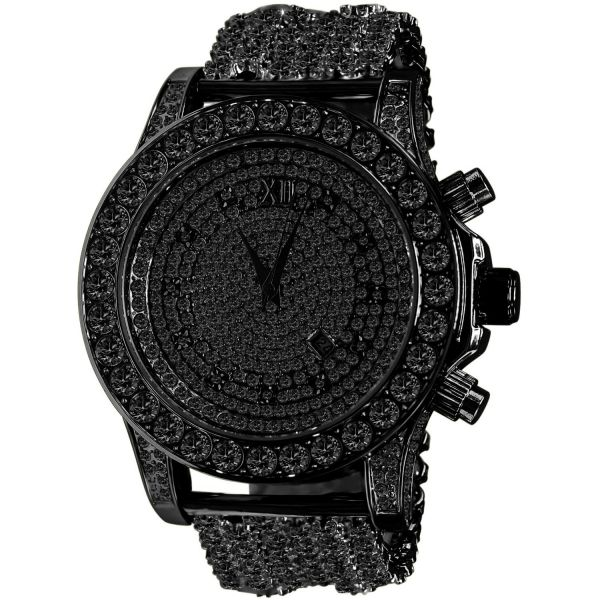 BURNISH High Quality FULL ICED OUT ZIRKONIA Uhr - schwarz