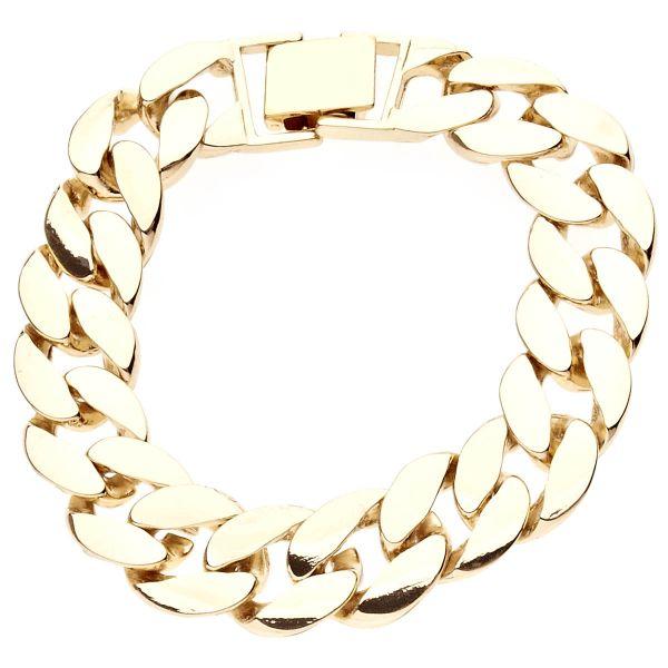 Iced Out BOLD MASSIV Hip Hop Armband - CURB 15mm gold