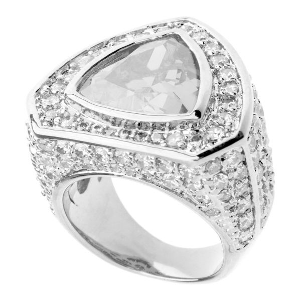 Iced Out Bling Micro Pave Ring - TRILLION silber