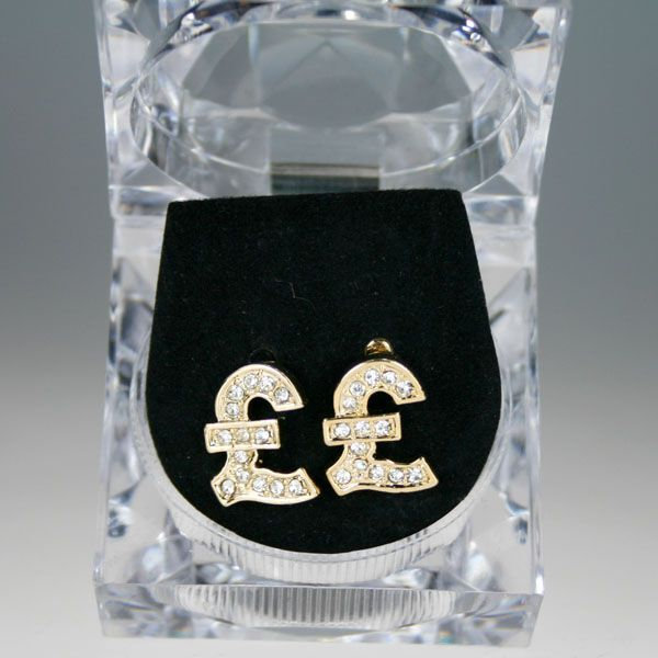 Iced Out Bling Hip Hop Ohrstecker Box - PFUND gold