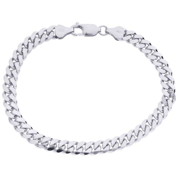925 Sterling Silver Curb Chain Bracelet - MIAMI CURB 6mm
