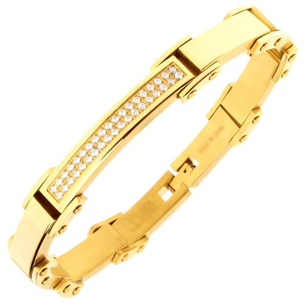 Iced Out Stainless Steel Micro Pave CZ Bracelet - 8mm gold