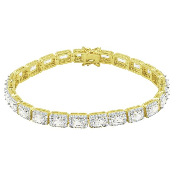 Iced Out Bling SQUARE TENNIS Armband - 6mm gold