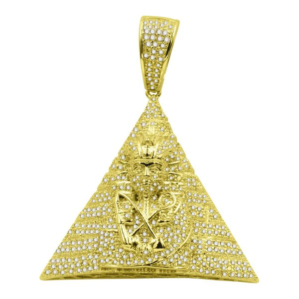 925 Sterling Silver 3D Pendant - Egyptian Pyramid gold