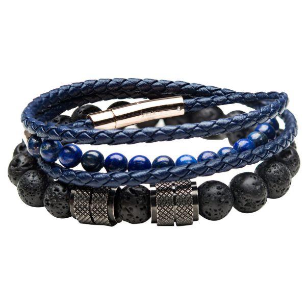 Stax Herren Armbänder - Double Wrap Leder, Lapis und Lava