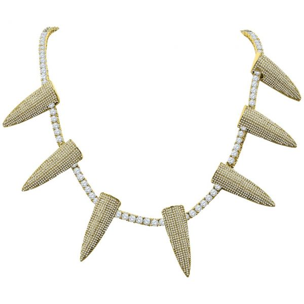 Iced Out Bling 4mm Zirkonia 50cm Kette - SPIKES gold