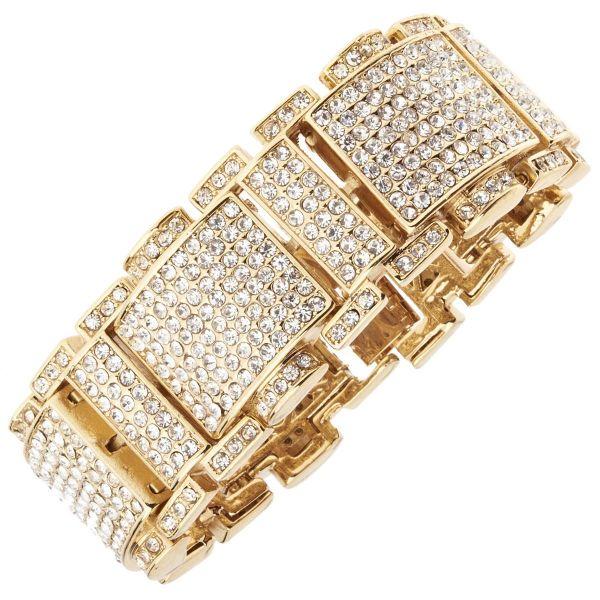 Iced Out Bling Hip Hop Bracelet Armband - RICK gold