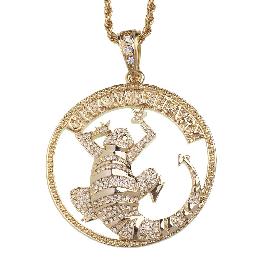 iced out bling pendant chamillitary gold pendants