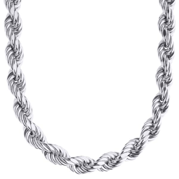 925 Sterling Silver Bling Chain - HOLLOW ROPE 8mm