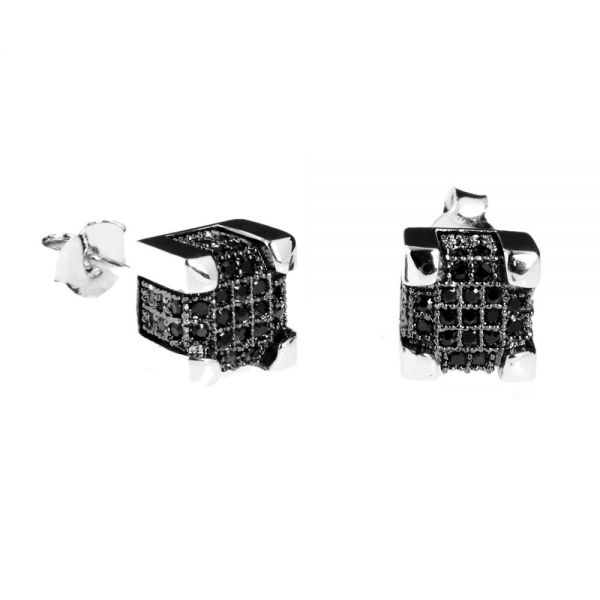925er Silber MICRO PAVE Ohrstecker - IMPERIAL 7mm schwarz