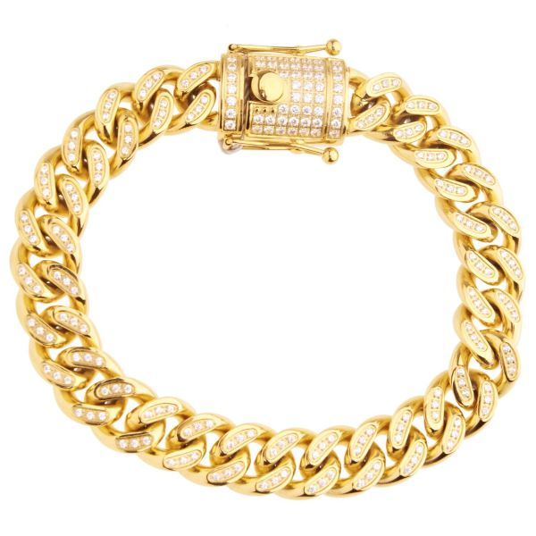 Iced Out Bling Edelstahl Miami Cuban Armband - 12mm gold