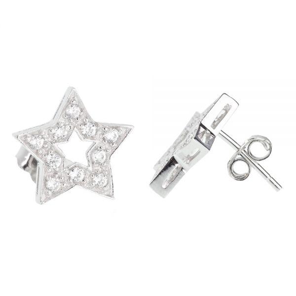 Sterling 925er Silber Ohrstecker - STAR 12mm