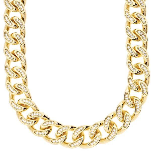 Iced Out Bling Micro Pave PANZERKETTE - CZ CUBAN 15mm gold