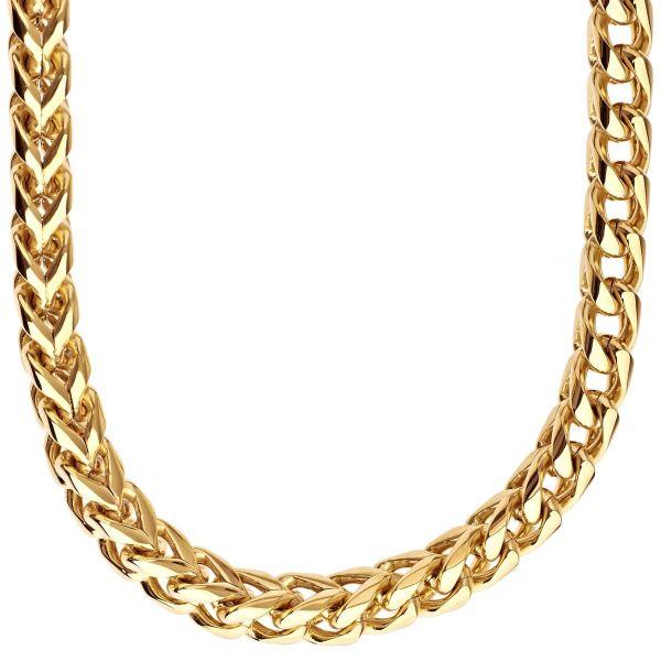 Iced Out Edelstahl FRANCO 8x8 Set - Kette & Armband gold