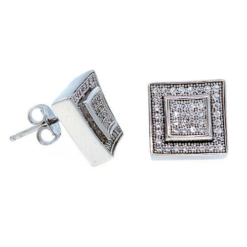 Sterling 925 Silber MICRO PAVE Ohrstecker - LAYER 10mm