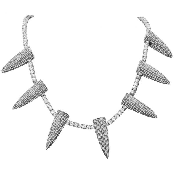 Iced Out Bling 4mm Zirkonia 50cm Kette - SPIKES silber
