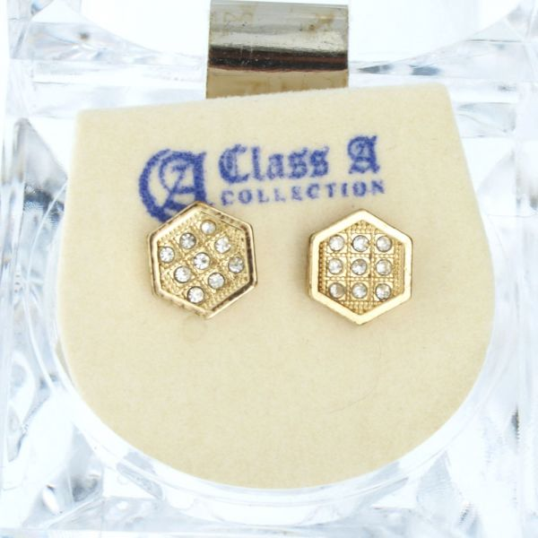 Iced Out Bling Ohrstecker Box - HEXAGON 8mm gold