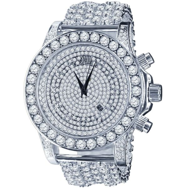 BURNISH High Quality FULL ICED OUT CZ Watch - silver