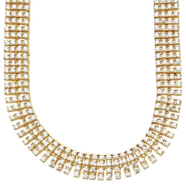 Iced Out Bling ZIRCONIA STONE 4 ROW Kette - gold / klar