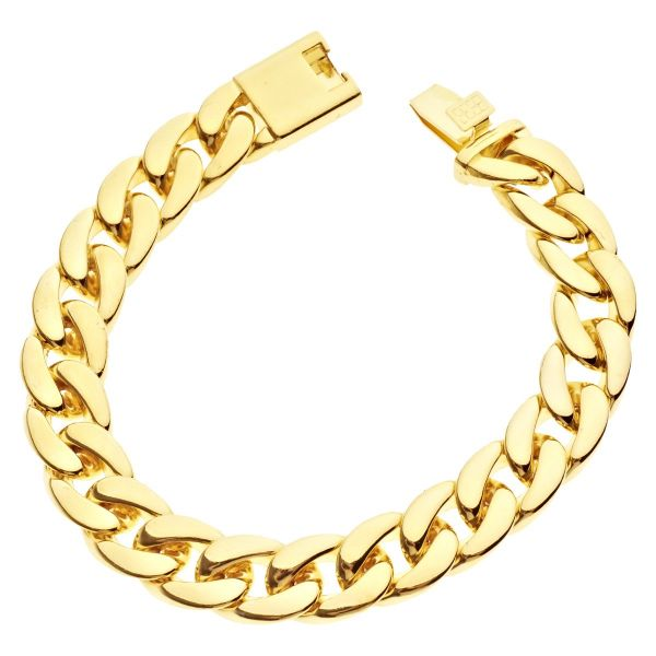 Iced Out Curb Bracelet - CUBAN LINK 15mm gold