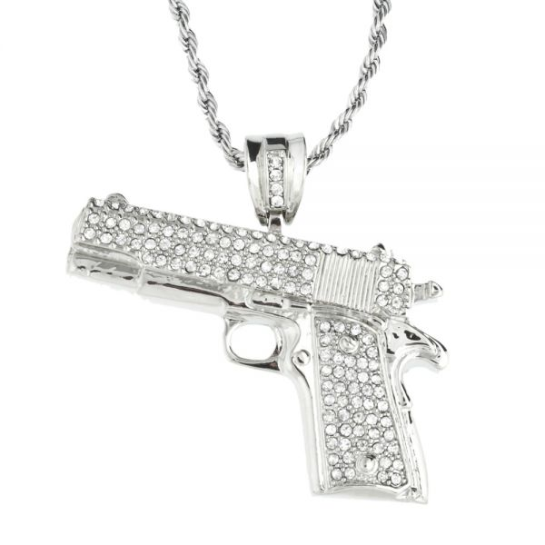 Iced Out Bling Hip Hop Kette - PISTOLE