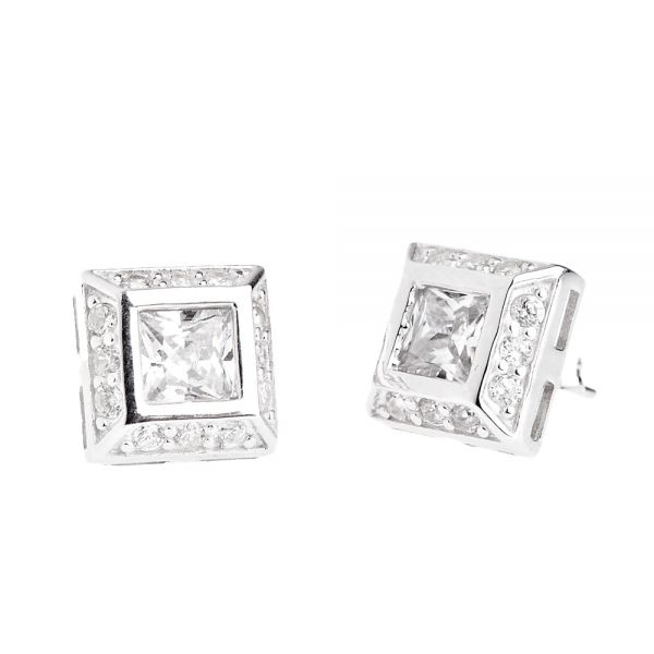 Sterling 925er Silber PAVE Ohrstecker - Zirkonia CENTER 10mm