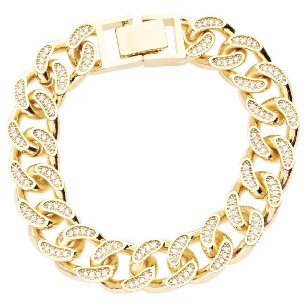 Iced Out BOLD MASSIV Hip Hop Armband - BLING CURB 14mm gold