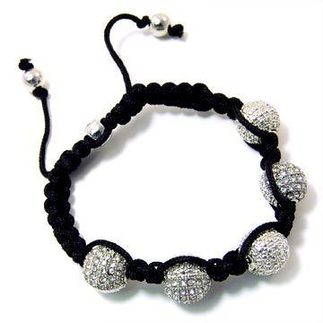 Unisex Bling Bracelet - DISCO BALL DOUBLE KNOT silver black