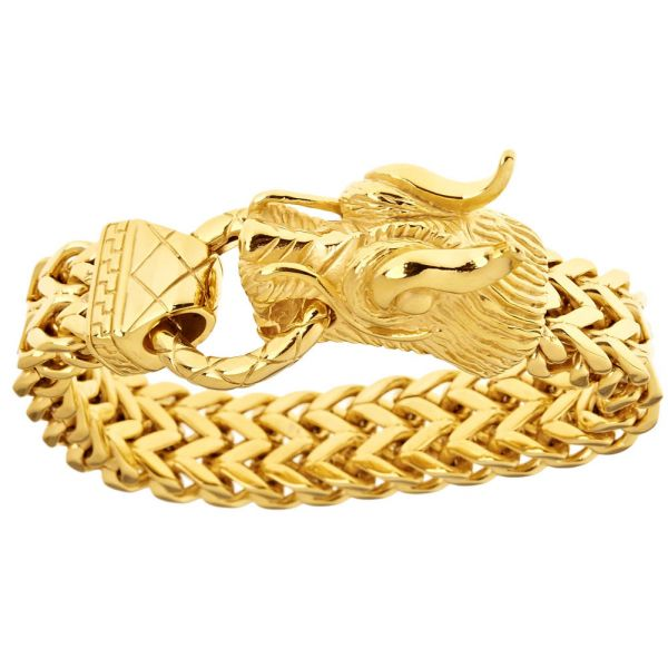 Iced Out Bling Edelstahl Armband - DRAGON HEAD gold
