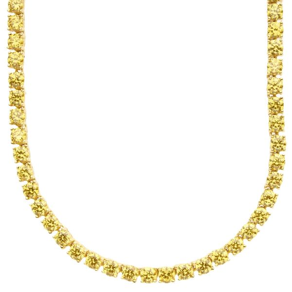 Iced Out Bling ZIRKONIA STEINE 1 ROW Kette - gold