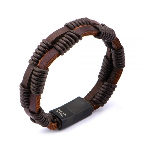 Herren Double Strap Braun Leder Armband Wrapped
