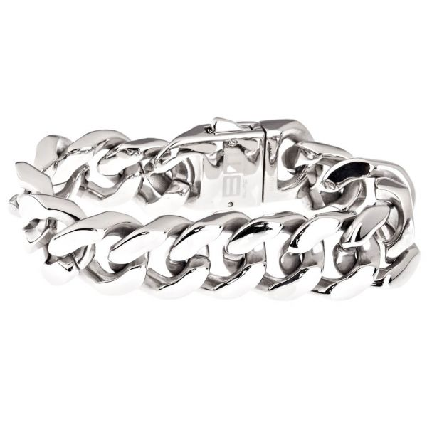 Iced Out Bling Stainless Steel Bracelet - SOLID CURB 20mm