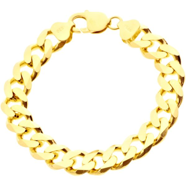 925 Sterling Silver Curb Chain Bracelet - 11mm gold