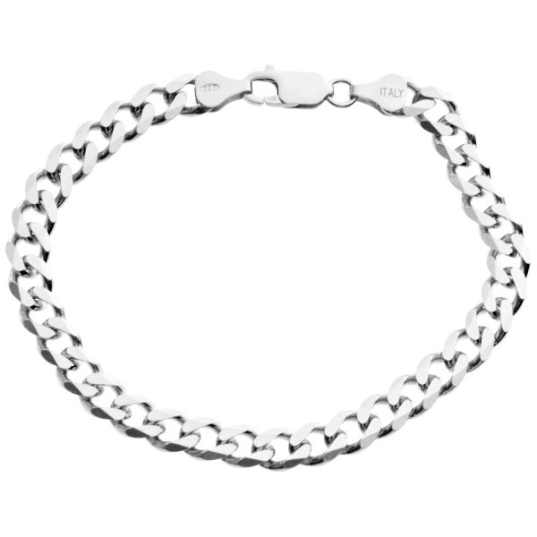 925 Sterling Silver Curb Chain Bracelet - 6.7mm