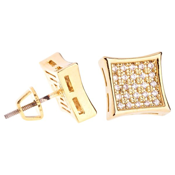 Iced Out Bling Micro Pave Earrings - K-KITE 10mm gold