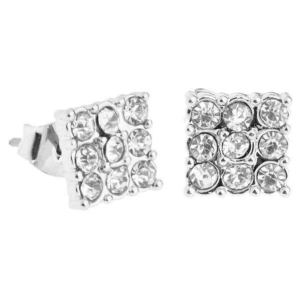 Iced Out Bling Ohrstecker Box - 3x3 SQUARE silber 8mm