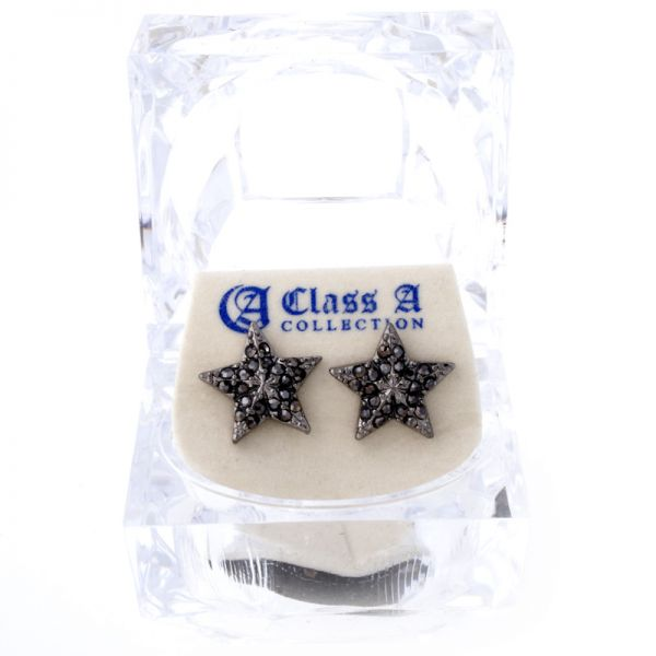 Iced Out Bling Ohrstecker Box - HOT STAR black