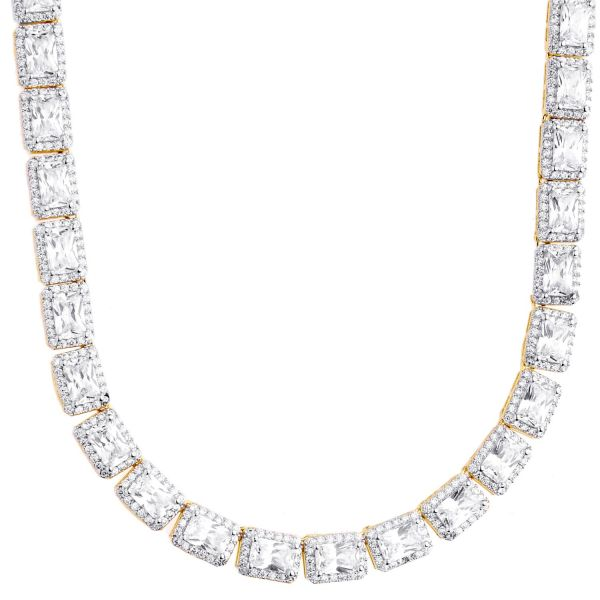 Iced Out Bling Zirconia Tennis Chain - SQUARE 6mm rose gold