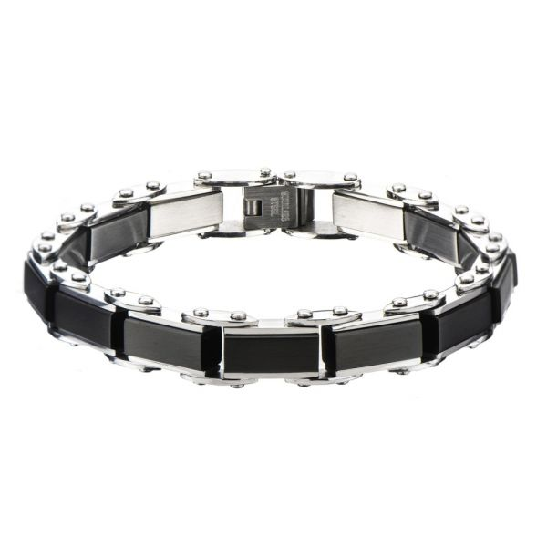 Herren Edelstahl Schwarz IP Rectangular Reversible Armband