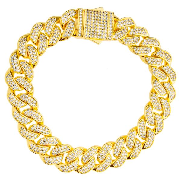 ICED OUT Cuban Link Bling Bracelet - 12mm silver