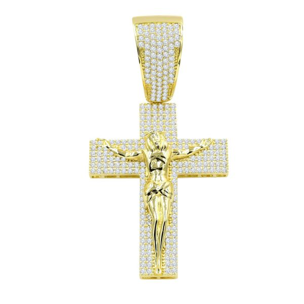 925 Sterling Silber Micro Pave Anhänger - WISPY JESUS gold